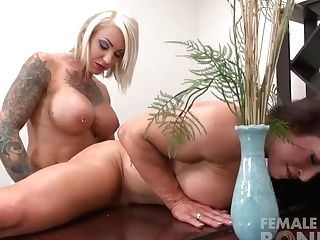 Two Female Bodybuilder Sex Industry Stars Fuck With A Strap On Fake...